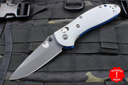 Benchmade Griptilian Black Drop Point Blade With Gray and Blue Body 551BK-1