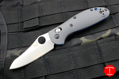 Benchmade Mini-Griptilian Satin Sheepsfoot with Gray and Blue G-10 Body 555-1