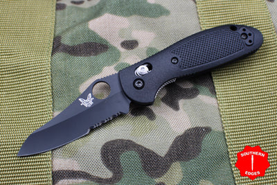 Benchmade Mini-Griptilian Black with Black Part Serrated Sheepsfoot Blade 555SBKHG