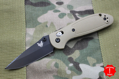 Benchmade Mini-Griptilian Tan with Black Drop Point Blade 556BKSN