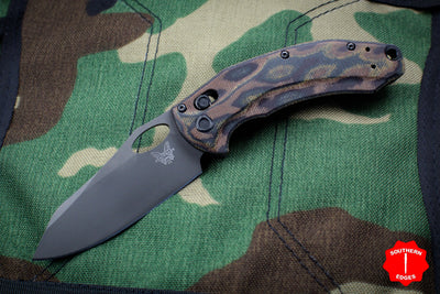 Benchmade Limited Edition Mini Loco Folder With Python Micarta Handle With Black Reverse Tanto Pplain Edge 818GY-1901