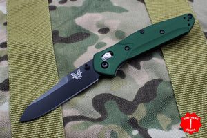 Benchmade Osbourne Reverse Tanto Green w Purple Backspacer Axis lock folder 940BK