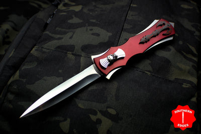 Burn Knives Razor Red OTF Auto Satin Double Edge W/ Flared SS Phantom Mid Lava Fat Carbon Overlays Skull Button