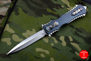 Burn Knives Razor OTF SS Auto Satin Double Edge W/ Flamed Titanium Overlays Skull Button