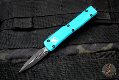 Microtech CALIFORNIA LEGAL Turquoise UTX-70 Double Edge (OTF) Black Blade CA147-1 TQ
