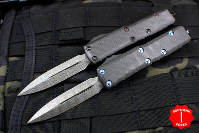 Microtech UTX-85 SET Double Edge Damascus Set SN 063 Blue Titanium and Copper HW