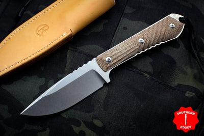 Chris Reeve Nyala Drop Point Fixed Blade with Natural Canvas Micarta Handle