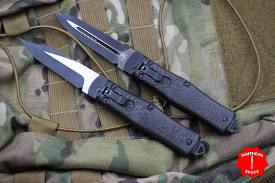 Microtech Set Cobra Knife, Auto Lever Lock, Lightning Strike Carbon Fiber Tactical Standard