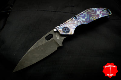 Dwyer Custom Goods BBN-M Custom folder Mokuti and Titanium Handles with Nichols CPM-3V/CPM-154 Damascus Pike Blade