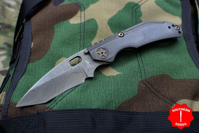 Dwyer Custom Goods BBN-M Custom folder Nichols Damascus Recurve Tanto Blade Unidirectional CF and Titanium Handles