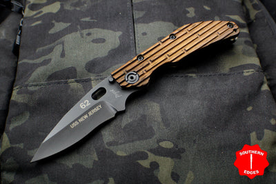 Duane Dwyer Custom Goods BBN-L custom folder USS New Jersey Teak Wood Handle Black Modified Recurve V-Grind Blade
