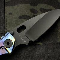 Dwyer Custom Goods BBN-M Custom folder Satin Finished Copper Top and Titanium Handles Black Pike Edge Blade