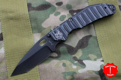 Dwyer Custom Goods BBN-M Custom folder Caveman Textured G-10 and Titanium Handles Black Tanto Blade