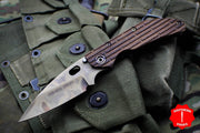 Duane Dwyer Custom Goods BBN-L custom folder USS New Jersey Teak Wood Handle Heat Treated Pike V-Grind Blade