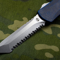 Heretic Manticore-X OTF Auto Breakthrough Blue Tanto Edge With Stonewash Full Serrated Blade H031-2C-BRKBL