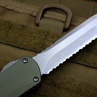 Heretic Manticore-X OTF Auto Green Tanto Edge With Stonewash Full Serrated Blade H031-2C-GREEN