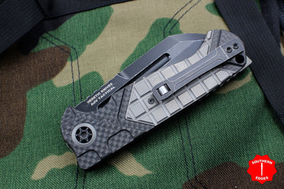 Heretic ADV Collaboration OTS Auto Butcher Carbon Fiber and Tumbled Ti Handles Black Battleworn Blade
