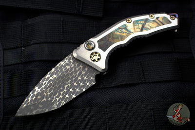 Heretic Knives Custom Medusa OTS Auto Ball Bearing Damascus with Mammoth Inlays