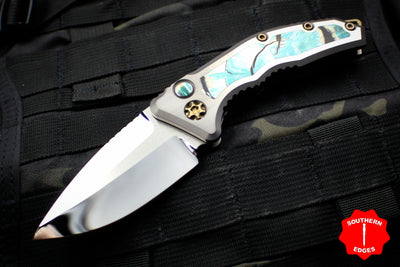 Heretic Knives Custom Medusa OTS Auto Mirror Polished Drop Point Mammoth Inlays Bronze HW