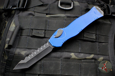 Heretic Hydra Battleworn Blue OTF with Black Battleworn Tanto Edge and Hardware H006-8A-BWBLU