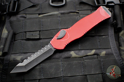 Heretic Hydra Battleworn Red OTF with Black Battleworn Tanto Edge and Hardware H006-8A-BWRED