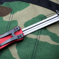 Heretic Hydra Red OTF with Black Single Edge with Black Hardware H007-6A-RD
