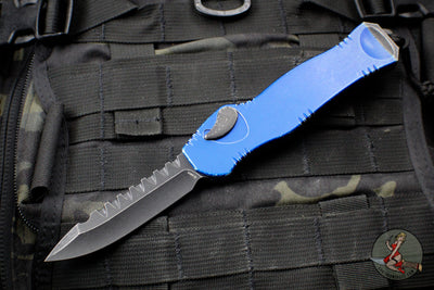 Heretic Hydra Battleworn Blue OTF with Black Battleworn Single Edge and Hardware H007-8A-BWBLU