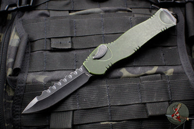 Heretic Hydra Battleworn Green OTF with Black Battleworn Single Edge and Hardware H007-8A-BWGRN