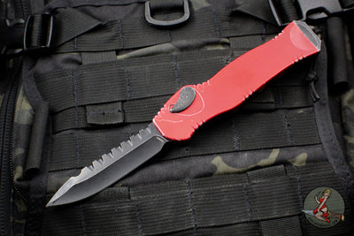 Heretic Hydra Battleworn Red OTF with Black Battleworn Single Edge and Hardware H007-8A-BWRED