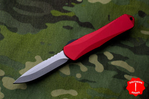 Heretic Manticore-E OTF Auto Red Single Edge With Stonewash Blade H026-2A-RED