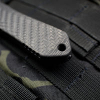 Heretic Manticore-E OTF Auto Tanto Edge Carbon Fiber Top DLC SS Bottom DLC Part Serrated Edge H027-6B-CF/SS