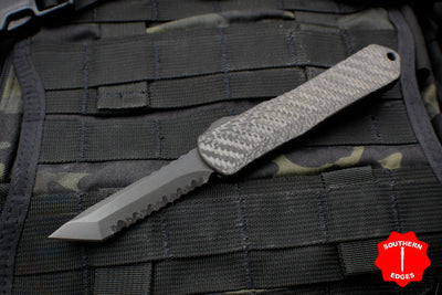 Heretic Manticore-E OTF Auto Tanto Edge Carbon Fiber Top DLC SS Bottom DLC Full Serrated Edge H027-6C-CF/SS