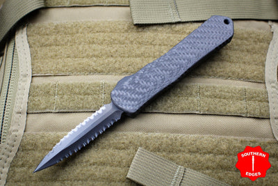 Heretic Manticore-E OTF Auto Double Edge Carbon Fiber Top DLC SS Bottom DLC Double Full Serrated Edge H028-6D-CF/SS