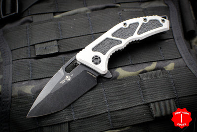 Heretic Knives Medusa Flipper Knife Blizzardworn Handle with Tanto Edge Battleworn Black H009-8A-BLIZZARD