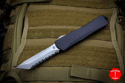 Heretic Manticore-X OTF Auto Black Tanto Edge With Stonewash Full Serrated Blade H031-2C