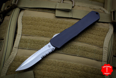 Heretic Manticore-X OTF Auto Black Recurve Edge With Stonewash Part Serrated Blade H033-2B