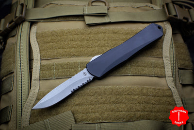 Heretic Manticore-X OTF Auto Black Recurve Edge With Battleworn Part Serrated Blade H033-5B