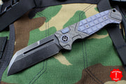 Heretic ADV Collaboration OTS Auto Butcher Carbon Fiber and Antiqued Blue Handles Black Battleworn Blade