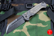 Heretic ADV Collaboration OTS Auto Butcher Carbon Fiber and Bronze Handles Black Battleworn Blade