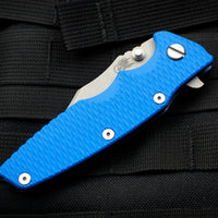 "Hinderer Eklipse 3.5"" Bowie Blade Blue G-10 Battle Blue Ti and Working Finish Blade Tri-Way Pivot System"