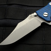 "Hinderer Eklipse 3.5"" Bowie Blade Blue/Black G-10 Working Finish Ti and Blade Tri-Way Pivot System"