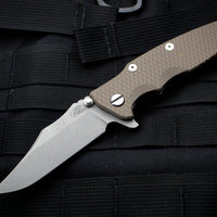 "Hinderer Eklipse 3.5"" Bowie Blade FDE G-10 Working Finish Ti and Blade Tri-Way Pivot System"