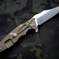 "Hinderer Eklipse 3.5"" Bowie Blade OD Green G-10 Stonewash Bronze Finished Ti and Stonewash Blade Tri-Way Pivot System"
