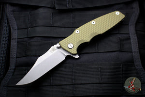 "Hinderer Eklipse 3.5"" Bowie Blade OD Green G-10 Working Finish Ti and Blade Tri-Way Pivot System"