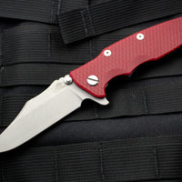 "Hinderer Eklipse 3.5"" Bowie Blade Red G-10 Battle Blue Ti and Working Finish Blade Tri-Way Pivot System"
