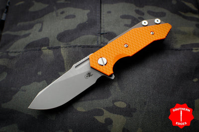 Hinderer Halftrack Orange G-10/Battle Bronze Titanium Handle Working Finish Slicer Blade Gen 6 Tri-Way Pivot System