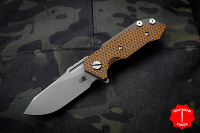 Hinderer Halftrack Orange & Black G-10/Battle Bronze Titanium Handle Working Finish Slicer Blade Gen 6 Tri-Way Pivot System
