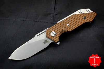 Hinderer Halftrack Orange and Black G-10/Titanium Handle Stonewash Slicer Blade Gen 6 Tri-Way Pivot System