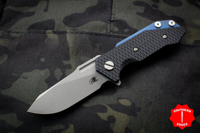 Hinderer Halftrack Black G-10/Battle Blue Titanium Handle Working Finish Slicer Blade Gen 6 Tri-Way Pivot System