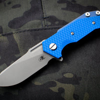 Hinderer Halftrack Blue G-10/Battle Blue Titanium Handle Working Finish Slicer Blade Gen 6 Tri-Way Pivot System